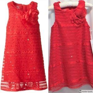 Pippa & Julie Red Sequin Ruffle Shift Dress 2T New